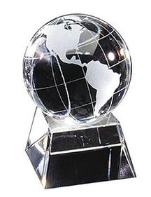 "Optical Crystal Globe Award Floating in Square Base (2 1/4""x3 1/2""), Price/piece"