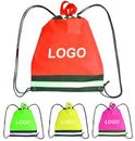 Custom Non-woven Drawstring Backpack With Reflective Strip, 17