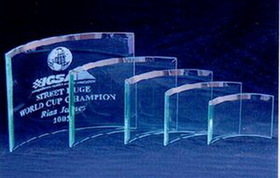 Jade Glass Beveled Bent Glass Award (Sand Blasted), Price/piece