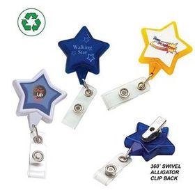 "DeVara Star Retractable Badge Reel (Pad Print), 1 1/4"" W X 3 1/2"" H X 5/16"" D, Price/piece"