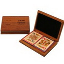 Custom Wood Double Deck Playing Card Box with Cards
