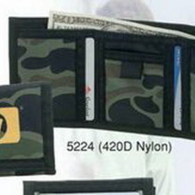"""4-1/2""""x3-1/4"""" Nylon Tri Fold Wallet W/ Coin Compartment & Clear Pocket, Price/piece"""