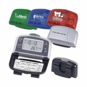 "AdVantage Line 5 Function Executive Pedometer, Pad Printed, 2 1/2"" W X 1 5/8"" H X 1"" D, Price/piece"