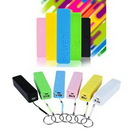 Custom 2600mAh Plastic Power Bank with Keychain, 3 13/16