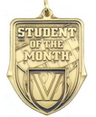 Custom 100 Series Stock Medal (Student of the Month) Gold, Silver, Bronze