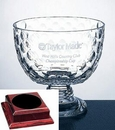 Custom Presidential Golf Bowl Trophy on Rosewood Base - Italian Lead Crystal