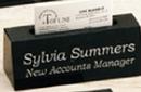 Custom Black Genuine Marble Executive Name Block & Card Holder
