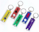 Slim Rectangular LED Flashlight with Metallic Silver Trim Keychain