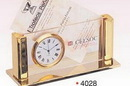 Custom Gold Plated Business Card Holder/ Clock (Curved Column) (Screened)