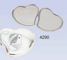 "2-1/2""x2""x3/8"" Silver Plated Contour Heart Compact Mirror (Screened), Price/piece"