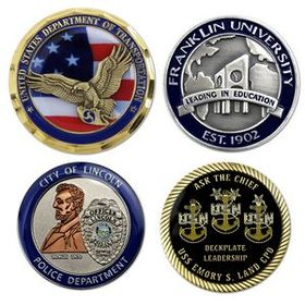 "Die Struck Brass Challenge Coin (1-1/2""), Price/piece"