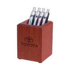"AdVantage Line Rosewood Large Desk Pen/Pencil Holder, 2 7/8"" W X 3 7/8"" H X 2 7/8"" D, Price/piece"