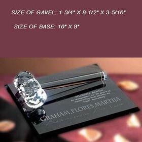 Crystal Gavel with Smoke Glass Base (Sand blasting), Price/piece