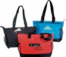 Custom Poly Zipper Top Tote Bag with 2 Mesh Pocket
