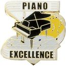 Blank Hard Stoned Enamel Music Pins (Piano Excellence), 1 1/8
