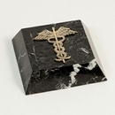 Custom Black Marble Paperweight With Brass Medical Symbol (Screened)
