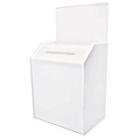 "Large White Ballot Box with Header (6"" Deep/ 8.5""x5"" Riser Insert), Price/piece"