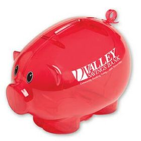 "Evans Action Piggy Bank, Pad Printed, 3 3/4"" H X 5 1/2"" W X 3 3/4"" D, Price/piece"