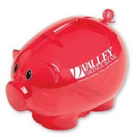 "Evans Action Piggy Bank, Pad Printed, 3 3/4"" H X 5 1/2"" W X 3 3/4"" D, Price/piece"