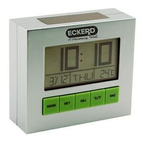 "AdVantage Line AD-1004 Solar-Powered Desk Clock, 3 3/4"" x 3 3/8"" x 1 3/8"", Price/piece"