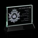 Custom Jade Walkerton Award w/ Rosewood or Black Wood Base (6