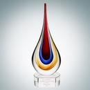 Custom Art Glass Yellow Teardrop Optical Crystal Award w/ Clear Base - Small, 8