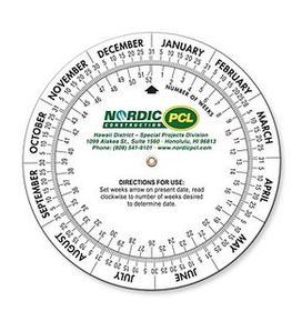 "Date Calculator Double Wheel - 4"" Diameter Base - (4 Color Front), Price/piece"