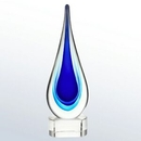 Custom Large Blue Teardrop Designer Art Glass Award, 12.5
