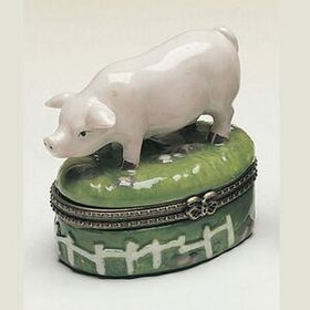 Porcelain Hinged Cute Piggy Box, Price/piece