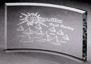 Custom Extreme Bevel Crescent Award - Jade Glass (7