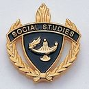 Blank Fully Modeled Epoxy Enameled Scholastic Award Pins (Social Studies), 7/8