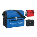 Custom B-6509 Insulated Cooler with Two Insulated Compartments, Front Zipper Pocket, Side Mesh Pocket, Adjustable Shoulder Strap