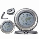 Custom CM-1001 World Time Travel Alarm Clock In Matte Silver Aluminum Case with Dual Time Display - 24 Time Zone