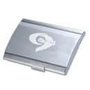 Custom HM-9012 Elegant Two Tone Brushed Stainless Steel Business Card Case In Curved Shaped