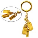 Custom KY-3069 Gold Bar Bell Key Chain, 24K Gold Plated Metal Key Chain with Jingling Bell and Carved Gold Details