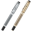 PA-601R Heavy Weight Brass Construction Unique Grid Pattern Rollerball Pen with Brush Silver Finish