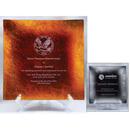 Custom CPL08S Alfa Gold or Silver Leaf Glass Plate Awards, Gold or Silver Square Glass Plate 8