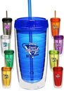 Blank Econo 16 oz. Double Wall Tumbler With Lid And Straw