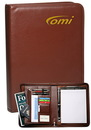 Custom 10.5 in. X 14 in. X 2 in. Brown Zippered Ringfolios With Clipboard