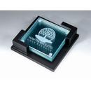 Custom FBCT01 Alfa Gold or Silver Leaf Glass Plate Awards, Flat Glass Coaster (4 pcs) 3 7/8