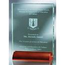 Custom GB4650 The Alfa Jade Glass Awards, Jade Glass Plaque w/ wood base 4