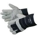 Custom Split Cowhide Work Gloves W/ Denim Cuff & Palm Patch