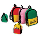 Custom 3210 600D Polyester Mini Backpack Style Zipper Pouch, 3-3/4L x 5-1/4H x 1-1/4D