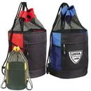 Custom 6012 600D Polyester/Nylon Mesh Mesh Drawstring Beach Barrel Bag, 11 L x 7-1/2 D x 20 H