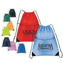 Custom 6518 Nylon Zippered Drawstring Backpack, 15 L x 18 H