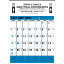 Custom 373 Commercial Planner Wall Calendar - Blue & Black, Offset Printing