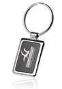 Custom Black & Chrome Rectangular Metal Keychains, Metal, 3