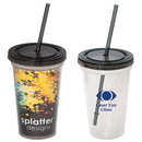 16 oz. Double Wall Removable Tumbler w/ Lid and Straw, Acrylic, Blank - Clear/Colors