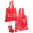 Custom F4898 Stocking Folding Tote, Lightweight 190T Polyester Tote Bag, 14.5