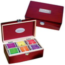 Custom GP3077 Executive Tea Set, Elegant Pinewood Box With Metal Clasp, 9